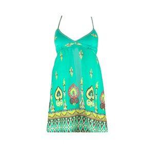 Short Green Cotton Cute Bohemian Summer Dress